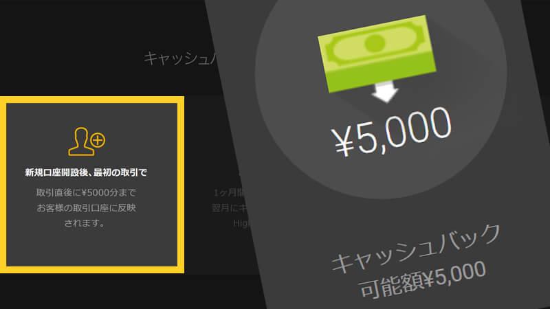 ハイロードットコム5000円初回入金キャッシュバック